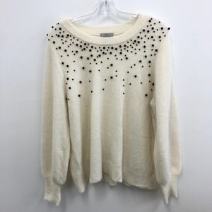 H&M Cream White Bead Embellished Mohair Sweater L